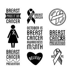 international day breast cancer awareness set vector image