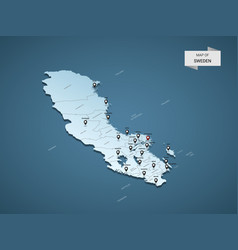 isometric 3d sweden map concept vector image