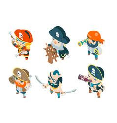 Isometric pirate ship crew corsair buccaneer vector