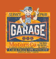 Kid motor garage car truck service repair vector