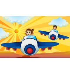 Kids Flying Aeroplanes vector image