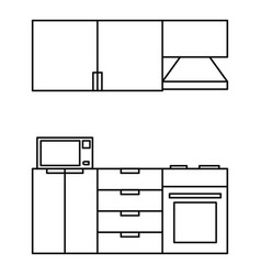 kitchen modern furniture icon outline style vector image