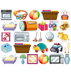 Large set household items and many toys vector
