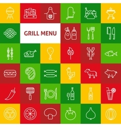 Line Grill Menu Icons vector image