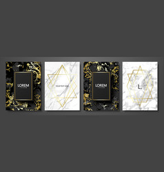 luxury cards collection with marble texture and vector image