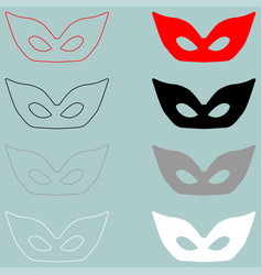 Mask or guise red black white icon mask or vector