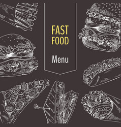 Menu fast food set sketch vector