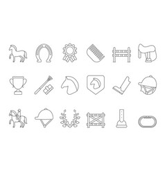mono line symbols of equestrian sport isolate on vector image