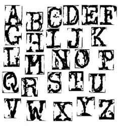 Old typewriter font vintage grunge letters vector