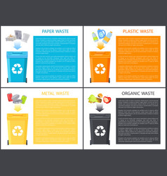 Paper plastic and metal waste vector