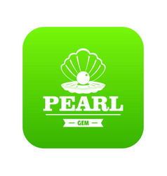 Pearl gem icon green vector