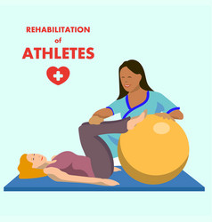 Physiotherapeutic exercise on fitball ad poster vector