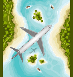 Plane over tropical landscape welcome to paradise vector