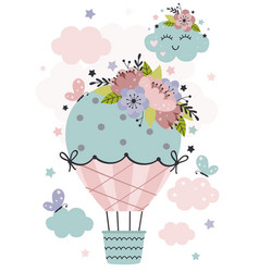 Poster with hot air balloon and flowers vector