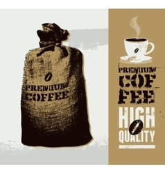 Premium coffee grunge retro background vector image