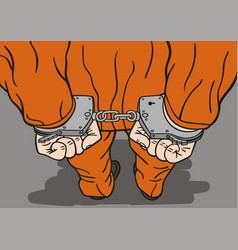 prisoner in handcuffs vector image
