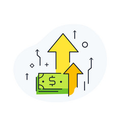 profit growth bank notes way to success vector image