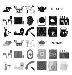 Pub interior and equipment black icons in set vector