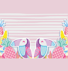 Punchy pastel fruits and birds vector