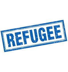 Refugee blue grunge square stamp on white vector