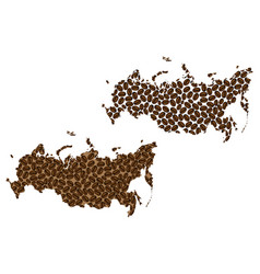 Russia - map of coffee bean vector