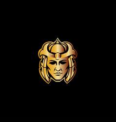 samurai warrior mascot logo vector image