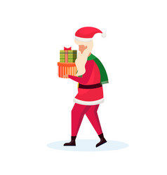 santa claus carrying gift box happy new year merry vector image