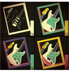 Set of four Guitars in frame vector image