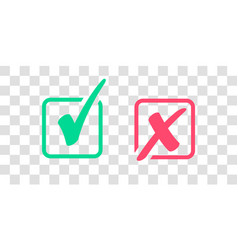 Set of green check mark icon and red x cross tick vector
