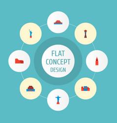 set of landmarks icons flat style symbols with vector image