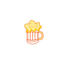 Sign beer mug color vector