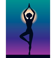 Silhouette of woman Pose Vrikshasana Girl vector