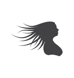 Silhouette woman with long hair vector image vector image