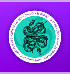 snake drink coaster vector image