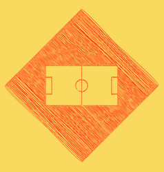 Soccer field red scribble icon obtained vector