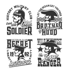 soldier pirate and ranger t-shirt prints vector image