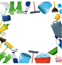 Spring cleaning supplies border tools of vector