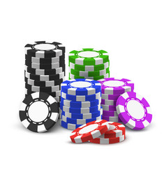 stack or heap for 3d or realistic poker chips vector image