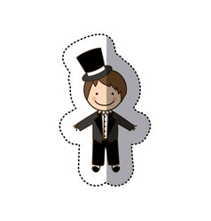 sticker colorful caricature man with costume vector image