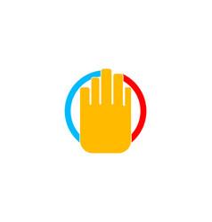 stop hand logo vector image