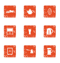 tearoom icons set grunge style vector image