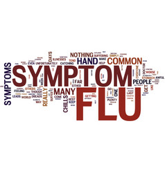 the most common flu symptoms explained text vector image