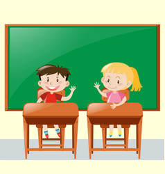 two kids asking question in classroom vector image