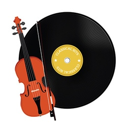Vinyl record and violin vector