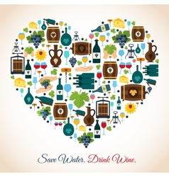 Wine heart icons vector image