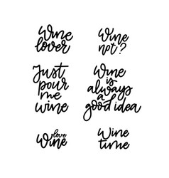 wine quotes set fun bar lovers vector image