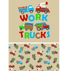 Work trucks with matching repeat pattern vector image