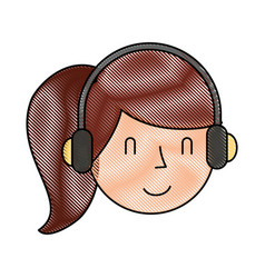 Young woman with earphone vector