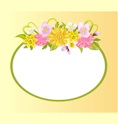 Zinnia daffodils and sakura flowers photo frame vector