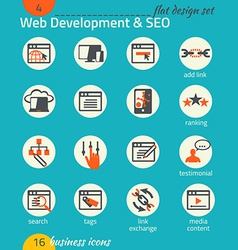 Business icon set Software and web development SEO vector image